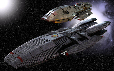 2004s BATTLESTAR GALACTICA title warship & Pegasus side by side color 8x10 photo