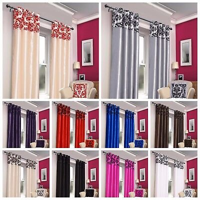 Damask Flock Eyelet Curtains Ring Top Window Curtains Fully Lined With Tie Backs