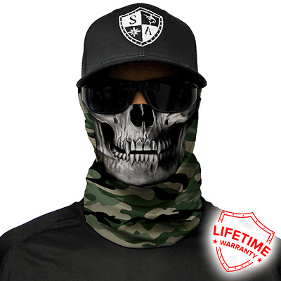 Green Military Camo Skull Face Shield von SA Company