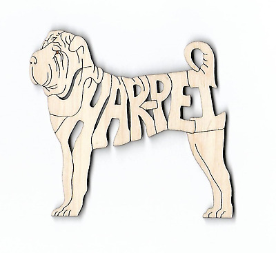 Shar Pei Dog laser cut and engraved wood Magnet