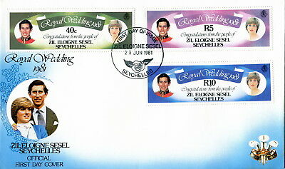 1981 Zil Eloigne Sesel Seychelles. Royal Wedding of Prince Charles & Diana. FDC