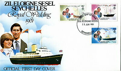 1981 Zil Eloigne Sesel Seychelles Yacht Royal Wedding Prince Charles & Diana FDC