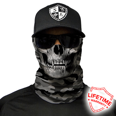 Grey Military Camo Skull Face Shield von SA Company