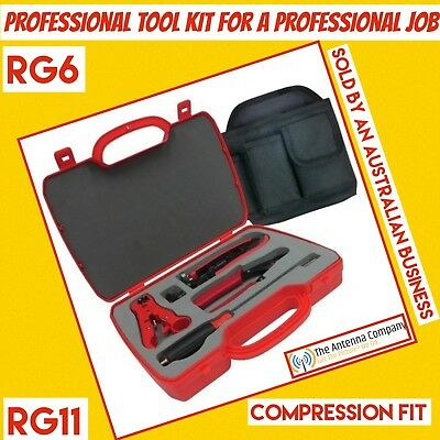 RG6/quad compression tv antenna tool kit with pouch and belt best quality pro