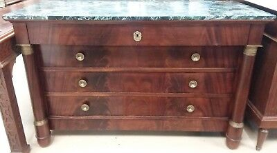 """Antique French Empire Mahogany Chest Ormolu Columns Marble Top 4 Drawers W 53"""""""