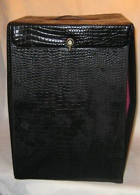 Vintage 1950's Black Patent Leather Wig Case w/ Drop Front Pink Interior
