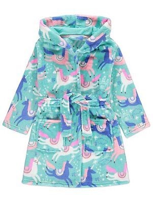 Girls Unicorn Dressing Gown Fleece Hooded Dressing Gown Robe Age's 2- 14 Years