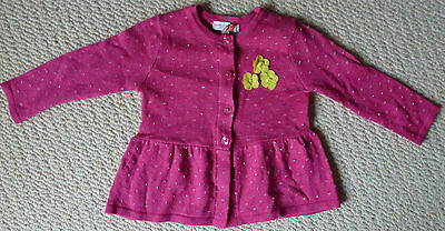 NWT Marie Claire Paris Baby Girls Pink Peplum Cardigan with Flowers Size 00