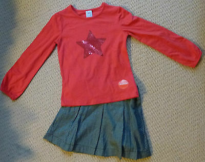 NWT Target Girls Sequins Star Long Sleeve Top Pleated Skirt Winter Set Size 5