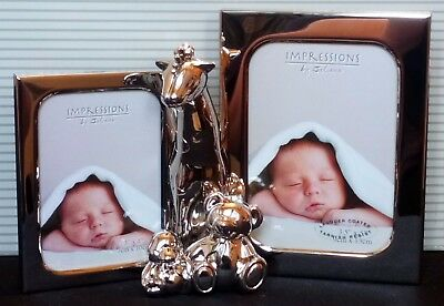 Silver Plated Giraffe + 2 Teddies double photo frame baby Christening Gift boxed