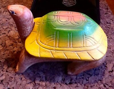 Vintage Wood Turtle Trinket Or Storage Box with Lid Carved Tortoise  colorful