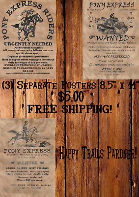 Pony Express Posters Wanted Old West Cowboy Mail Horse Pony Western Rob Ride