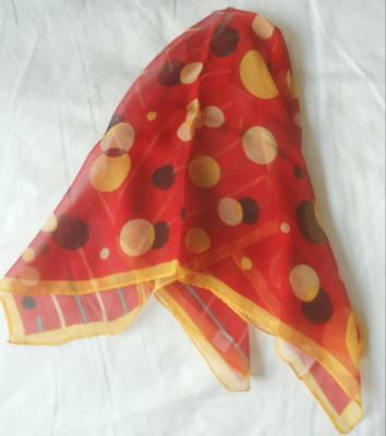 Nwot 100% Silk Chiffon Scarf Square Yellow Black Spots Stripes On Red 53 X 57 Cm