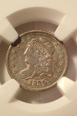 1834 Half Dime, NGC graded, AU55 CAC