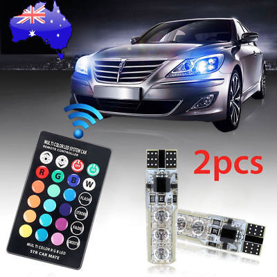 x2 T10 RGB LED Remote Control Colour Changing Interior and Exterior Lights