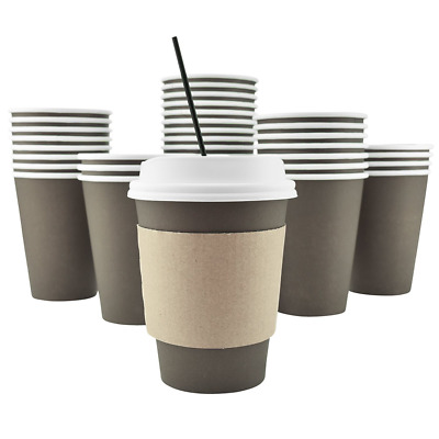 AckBrands 100 Pack - 12 Oz Disposable Hot Paper Coffee Cups, Lids, Sleeves, Stir