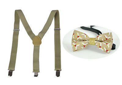 BOYS BABY KHAKI Braces Suspenders Xmas Christmas LEAVES Bow Tie 1-8 Years Old