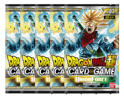 Dragon Ball Super TCG Union Force Booster Pack Bundle of 5 New/Sealed
