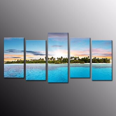 Island Beach Print on Canvas wall art Painting Picture 5 Panels Print Home Decor