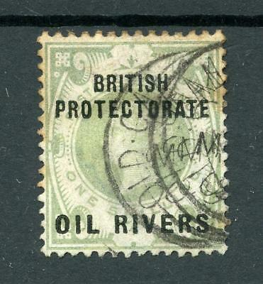 Nigeria Oil Rivers 1892-94 1s dull green SG6 used cat £90 - toned perfs