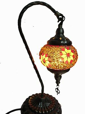 Turkish Ottoman Style Mosaic Table Lamp, Genuine Stained Glass, Handmade, 38 cm