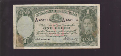One Pound paper Commonwealth of Australia Banknote Coombs Watt  R-64