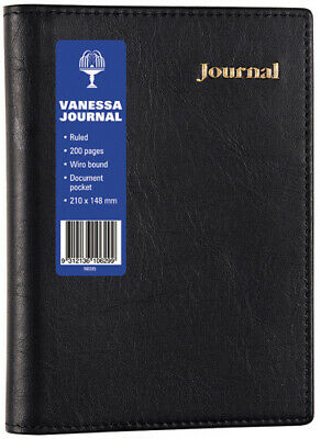 Collins Vanessa A5 Spiral Lined Journal 200 Pages - Black NB285