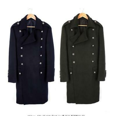 296dc38fdf07d Men s Autumn Wool Military Double-Breasted Trench Coats Overcoat Jacket  Outwear
