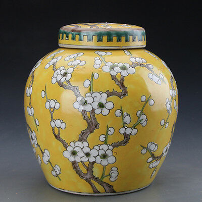 Chinese Old Famille Rose Yellow Glazed Plum Porcelain Tank Lid Jar