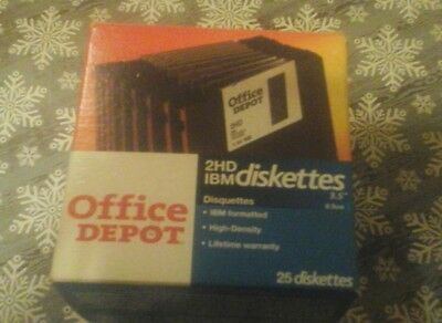 """Office Depot 2HD IBM Diskettes 14 count IBM Formatted High-Density 3.5"""" Open Box"""