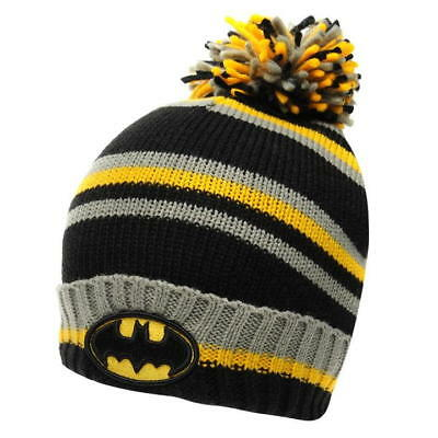 Mens Dc Comic Black Yellow Officially Licensed Batman Wooly Winter Bobble Hat