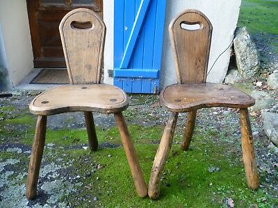 Two Antique French, Rustic Oak, Three Legged Bar Chairs. French Oak Bar Stools