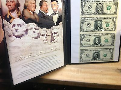 The US Commemorative Gallery - Mount Rushmore Collection $1 Uncut Bill Set