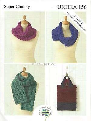 VAT Free Hand Knitting Pattern Super Chunky Scarf Bag and Snoods UKHKA156 New