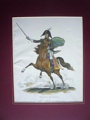 "Antique Print Dated 1816."" The King Of Prussia ""  Rare."
