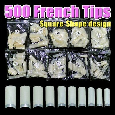 500 pcs Professional French false nails for acrylic nail tips Square)