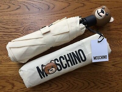 Moschino Cream Toy Teddy Bear Automatic Compact Umbrella With Storage Pouch Bnwt