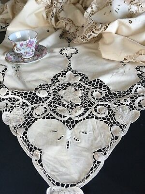 Antique Ecru Cotton Tape Lace Tablecloth