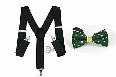 MEN WOMEN BLACK Braces Suspenders Xmas Christmas GOLD STARS GREEN Bow Tie