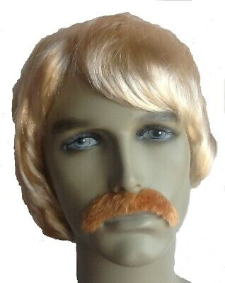 Blonde Men's Fancy Dress Wig & Droop Moustache. Uk Dispatch