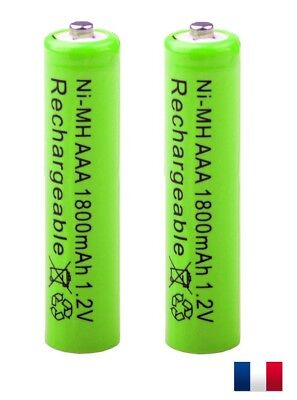 LOT 2 x Piles rechargeables AAA 1800 mAh NiMH accus neuf HR03 1,2V