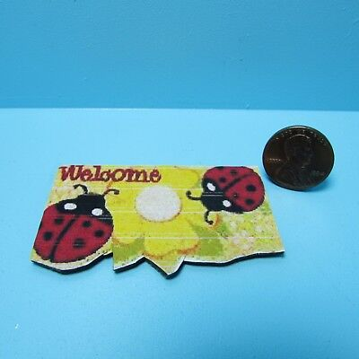 Dollhouse Miniature Welcome Door Mat with Lady Bug Design ~ RND167