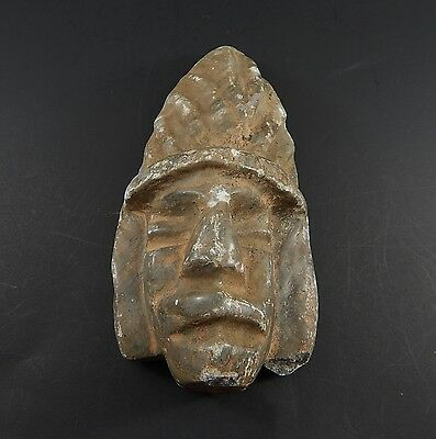 Antique Pre-Columbian Style Or Origin Carved Stone Face with Pigment 2 lbs