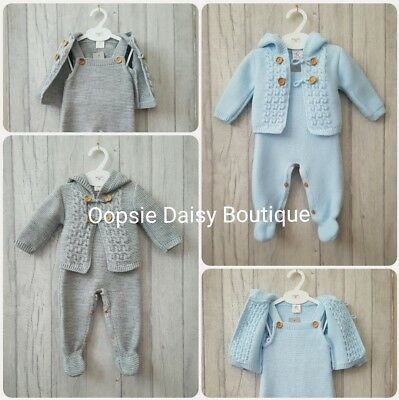 Baby Boys Stunning Spanish Knitted Dungarees & Cardigan Sets ☆