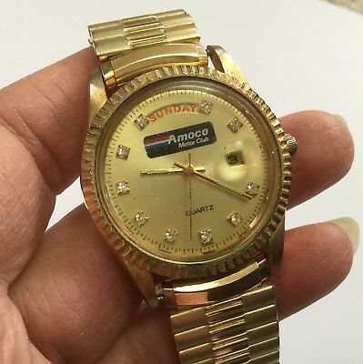Vintage AMOCO motor club gas oil men's Watch MIYOTA PEDRE gold tone glow hands