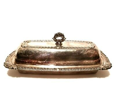 Antique Butter Dish, Sterling Silver Plated RARE - HARD 2 FIND, 2pc set