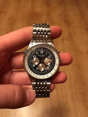 Rotary Chronospeed Chronograph Date Silver Blue Dial Watch Gb03351/05
