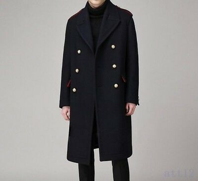 Vogue Men Double Breasted Military Blazer Jacket Lapel Collar Parka Trench Coat