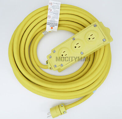 Woodhead 125v Multi-Tap 3 Outlet Box w/ 50' Yellow Extension Cord 12/3 15a SOOW