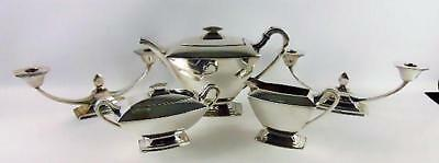 Antique Art Deco 1847 Rogers Bros Silverplate Modern Colonial Teapot Candle Set
